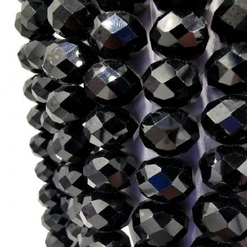 72 pcs x 10mm Glass Faceted Rondelle Black 002